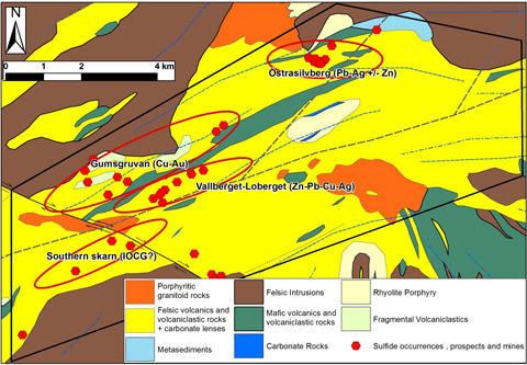 Project scale geological map showing prospects.