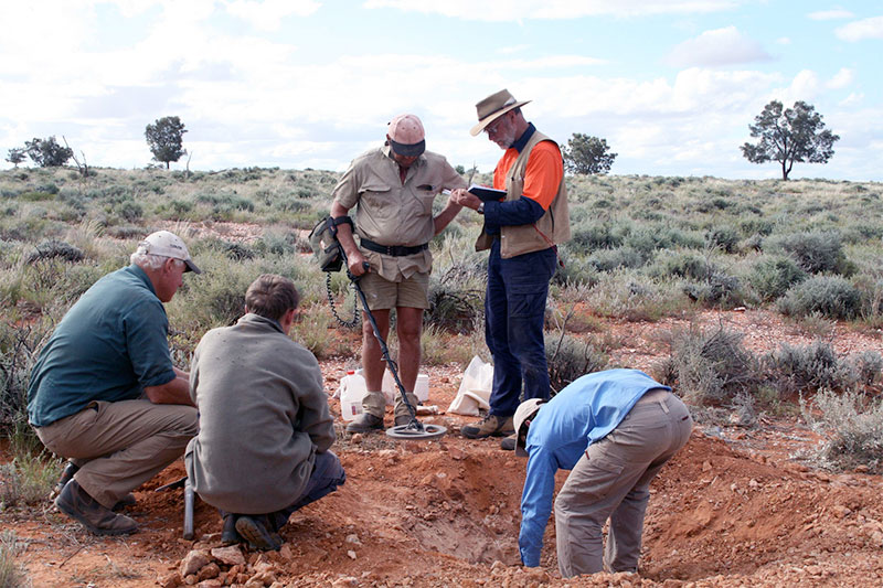 Prospecting for gold with metal detectors.