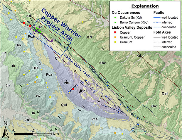Geologic map of the Copper Warrior area.