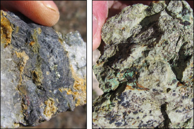 Left: Schist cut by black carbonate-pyrite-chalcopyrite veins. Right: Coarse-grained actinolite-tremolite locally with oxidized chalcopyrite.