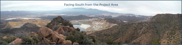 View facing south, from the project area to the Copper Cities pit.