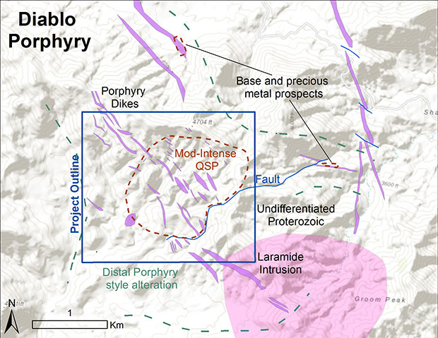 Geologic map of the Diablo Porphyry area.