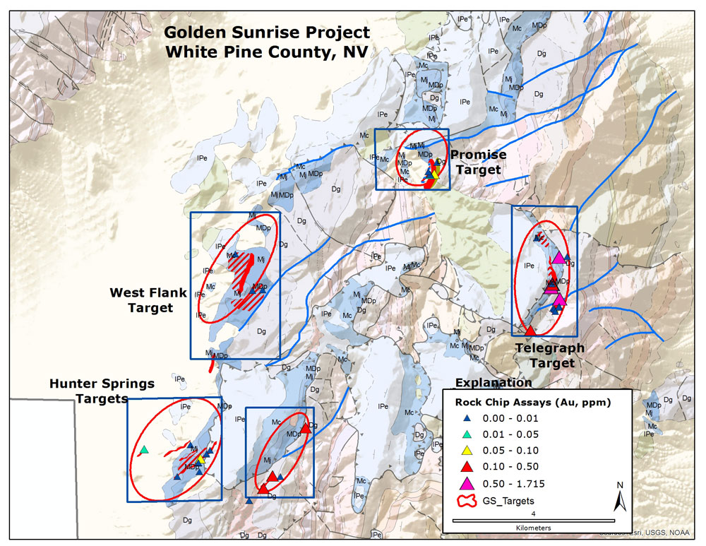 Geologic, alteration and geochemical map of the Golden Sunrise project. Alteration shown as: jasperoid: shaaded red; sulfide veining: red cross hatching, dolomitization: tan shading