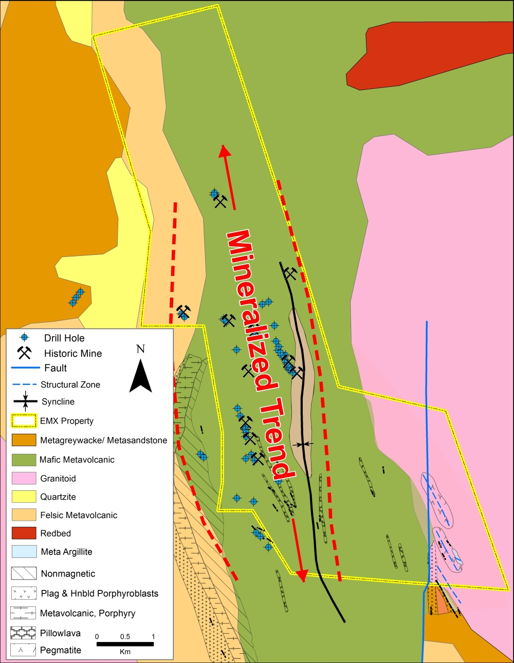 Geology of the Guldgruvan area. Mafic volcanic, diabasic intrusive, and local carbonate-hosted Cu-Ni-Co-Zn-Pb-Ag-Au mineralization as veins and replacements as well as local massive sulfide horizons
