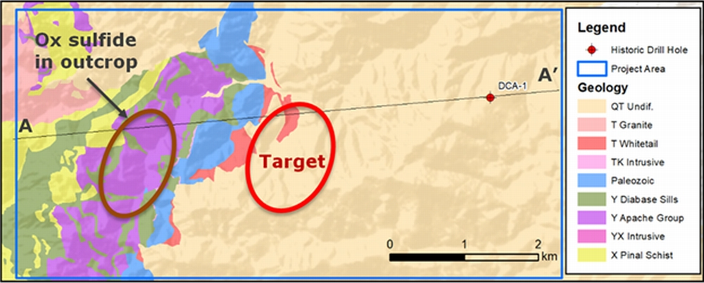 Geology and targets of the Dragon's Tail project area